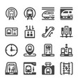 subway train icon set vector image