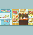 supermarket with full rows of food and cart vector image vector image