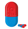Tablet with brains Pill IQ Medical product vector image