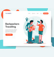 travelling backpackers concept vector image vector image