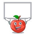 up board nectarine with leaf isolated on cartoon vector image