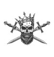vintage monochrome king skull in crown vector image vector image