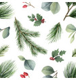 watercolor christmas seamless pattern vector image