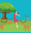 woman girl fresh jumping freedom in forest fresh vector image vector image