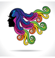 abstract colorful hair fashion girl vector image vector image