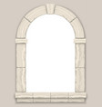 arch in the wall of beige cut stone vector image vector image