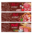 banners for butchery shop meat products vector image vector image