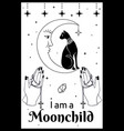 black cat on moon praying hands holding a vector image