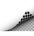 Blank Paper Sheet with Checkered Page Curl Black vector image