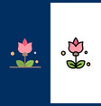 bouquet flowers present icons flat and line vector image vector image