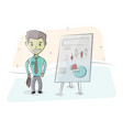 businessman and graphs on white board vector image vector image