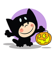 Cartoon child cat costume vector image vector image