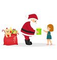 cartoon santa claus gives a gift to a girl vector image vector image