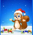 cartoon squirrel wearing santa hat in the winter b vector image
