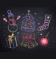 chalked christmas set vector image vector image