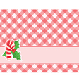 Checkered red background with candy canes and vector image