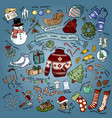 christmas winter favourites colorful doodles with vector image vector image