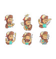 cute girl in baseball cap showing various emotions vector image vector image