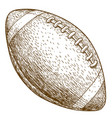 engraving of american football ball vector image vector image