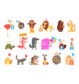 funky animals with party attributes at the kids vector image vector image