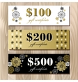 Gift certificate card template with golden vector image vector image