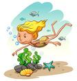 Girl enjoying underwater vector image