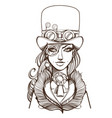 girl in a top hat and monocle portrait of a vector image vector image