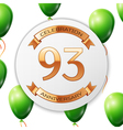Golden number ninety three years anniversary vector image vector image