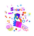 hand holding shield data secutiry protection vector image