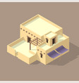 isometric arab house vector image vector image