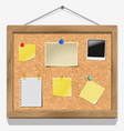 Items pinned to a cork message board vector image vector image