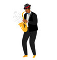 jazz saxophonist plays saxophone isolated on white vector image vector image