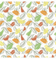 leaves seamless pattern sketch hand drawn vector image vector image