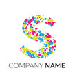 letter s logo with blue yellow red particles vector image