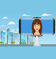 monopod selfie stick with girl face making travel vector image vector image