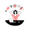 multitasking woman at the workplace checking mail vector image