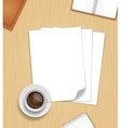 Note Paper and a cup of coffee on wooden vector image vector image