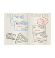 passport pages with usa cities stamps vector image