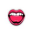 Pink lips tongue pop art retro poster element vector image vector image