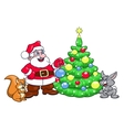 Santa decorating Christmas tree 4 vector image