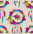 seamless pattern with dreamcatchers vector image vector image