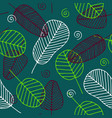 seamless tropical pattern with skeleton leaves vector image