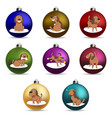 set of christmas ball funny cartoon puppy in vector image vector image