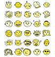 set of thirty hand drawn emoticons or smileys vector image