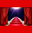showroom with red carpet leading to a podium with vector image vector image