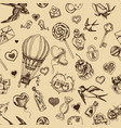 sketch pattern romance happy vector image