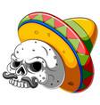 skull head cartoon with sombrero vector image vector image