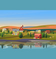 small town landscape with houses on shore vector image vector image