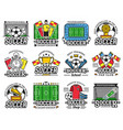 soccer professional sport league fan club icons vector image vector image