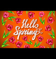 Springtime hello spring text lettering spring vector image vector image
